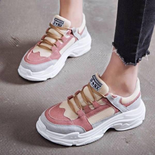 Fashion women shoes mesh breathable platform sneaker ladies footwear women chunky sneakers outdoor sport walking shoes #808