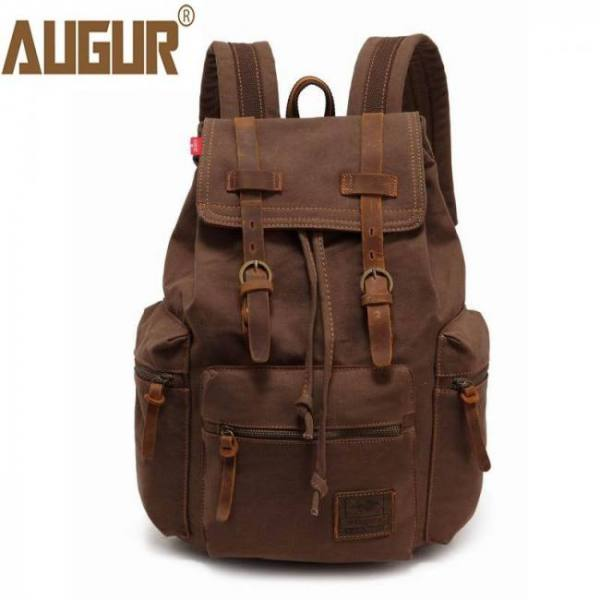 Augur classic men and women backpack heavy durable canvas vintage  travel  large capacity laptop school backpack rucksack