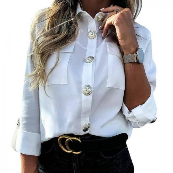 Military top ladies casual button