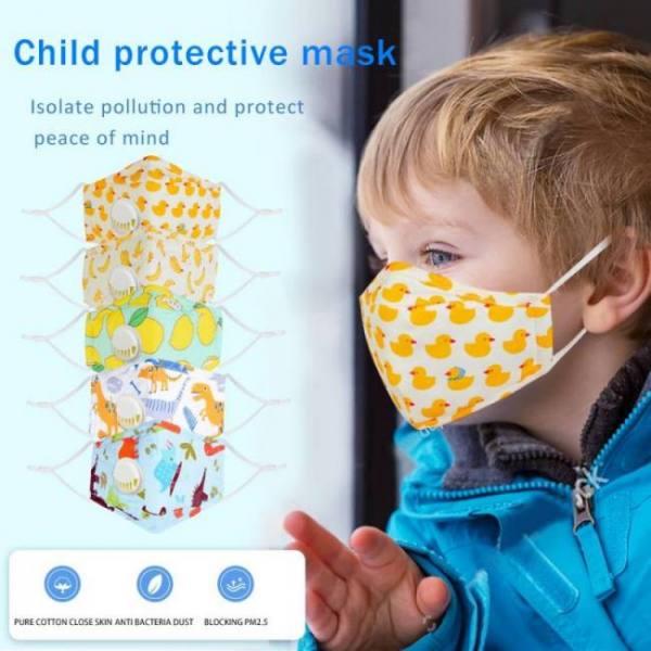 Bfaccia catton children 3-ply pm2.5 mouth mask kids breath valve anti-dust breathable mask anti  half fa respirator cover