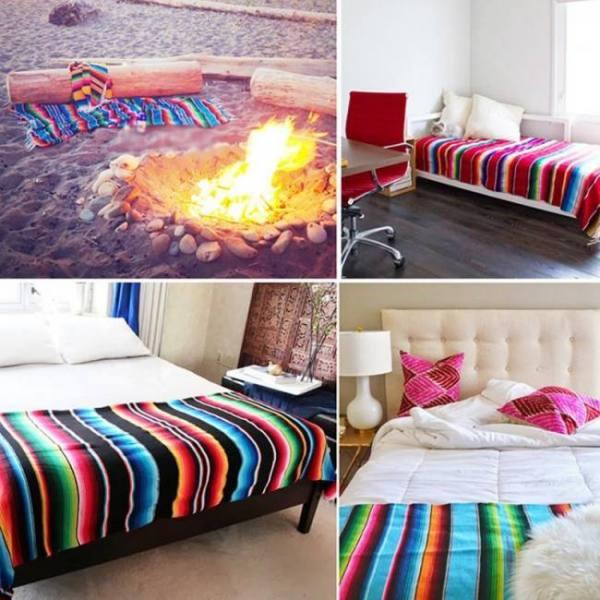Ethnic rainbow striped beach towel