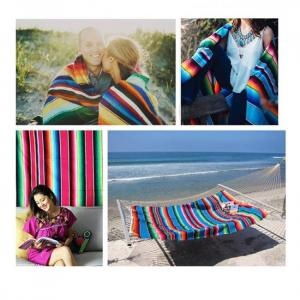 Ethnic rainbow striped beach towel
