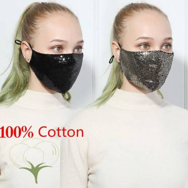 Fashion sequin mask cotton keep warm anti-haze masks shining party unisex breathable mouth respirator washable face cover masks