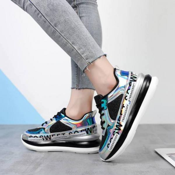 Fashion women sneakers chunky platform round toe lace-up patchwork shoes women sneakers women's sequined casual shoes #1101