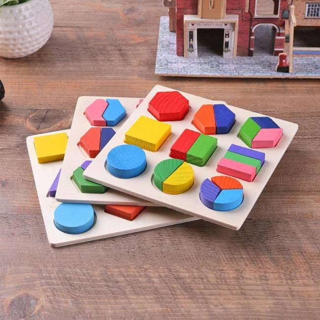 Wooden Geometric Shapes Montessori Puzzle Sorting Math ...