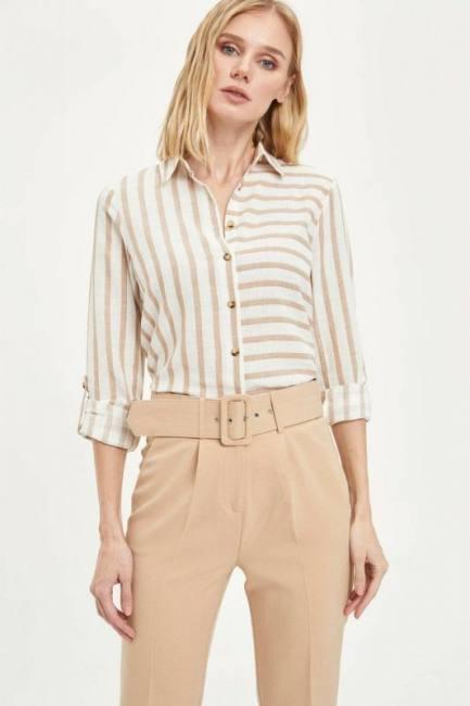 litro acidità dollaro Americano  DeFacto Spring Women Casual Black White Striped Long Sleeve Shirt