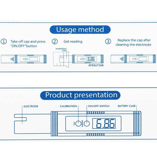 Digital lcd ph meter pen of tester