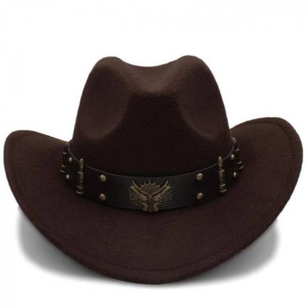 Wome men black wool chapeu western