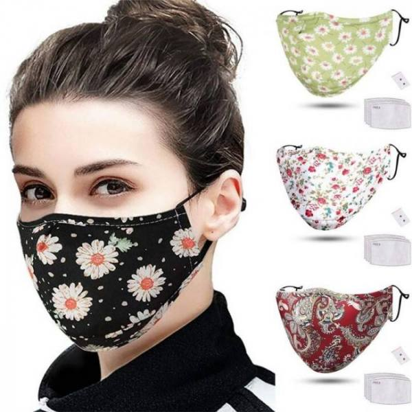 Funny floral print scraf with 4pc