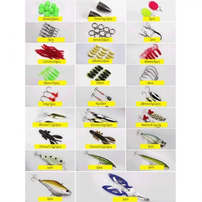 101 pcs plastic fishing lure set m
