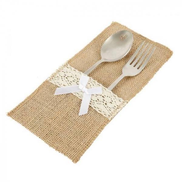 20pcs burlap lace cutlery pouch ru