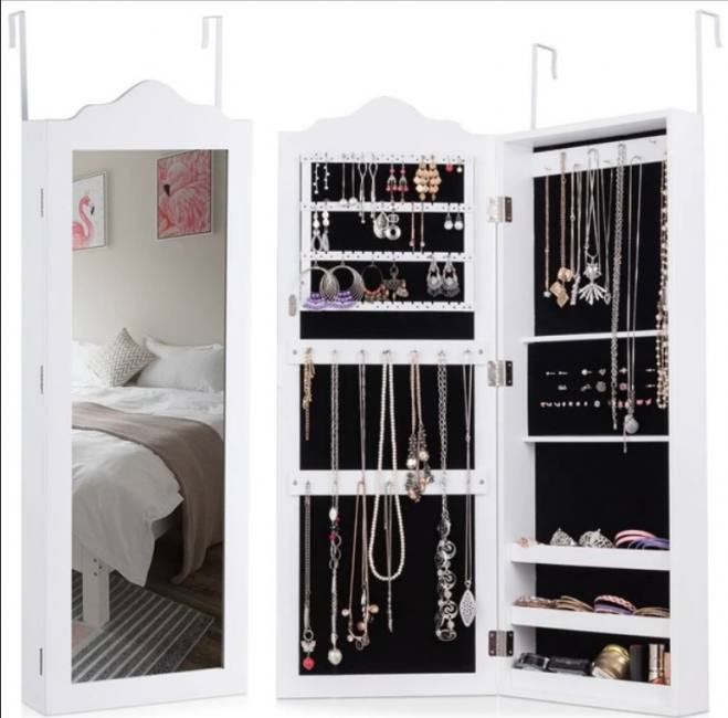 White wooden wall mounted mirrored