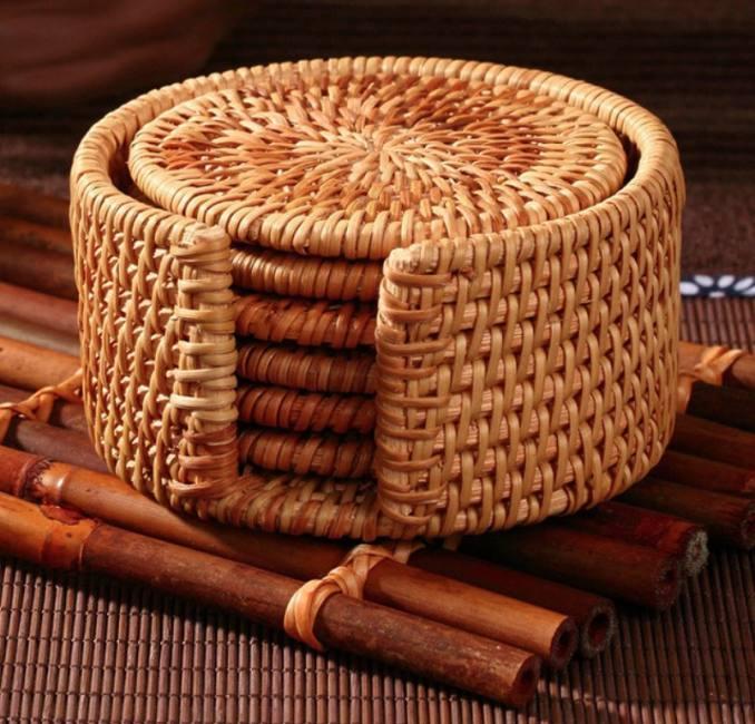 6pcs woven coaster tea set