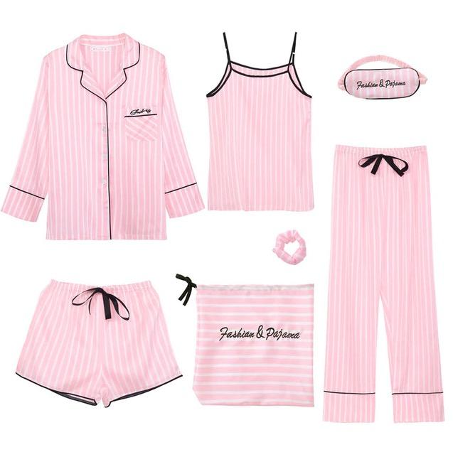 Pink women's 7 pieces faux s