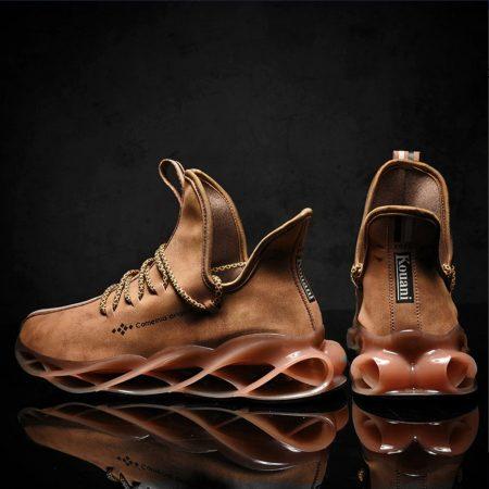 Waterproof leather sneakers joggin