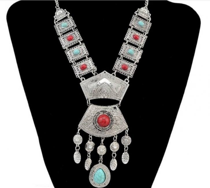 Women vintage silver color geometr