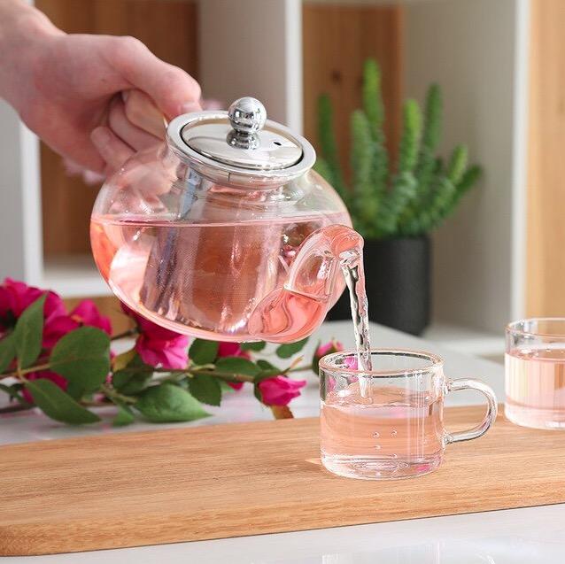 Leaf tea pot good clear borosilica