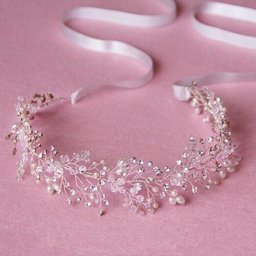 Bridal headpiece crown crystal pea