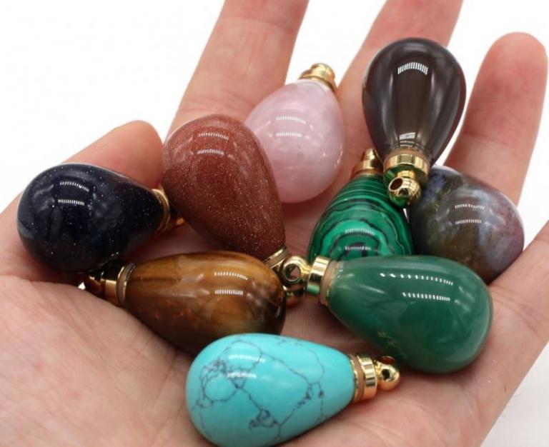 Natural gem stone perfume bottle p