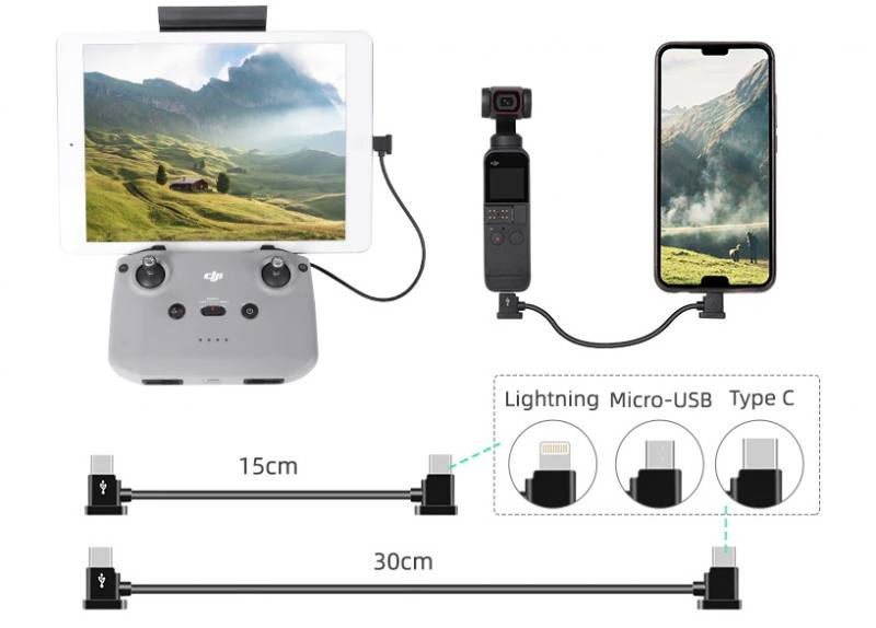 15/30cm mini 2/osmo pocket 2 data cable type-c to android ios cable data conversion line osmo pocket mavic air 2 drone accessory