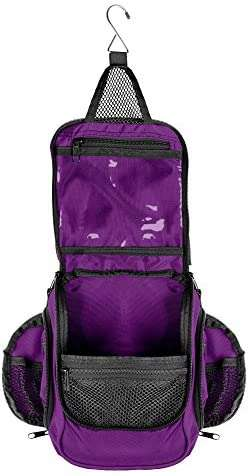 Compact hanging toiletry bag and organizer, water resistant with mesh pockets (eggplant)