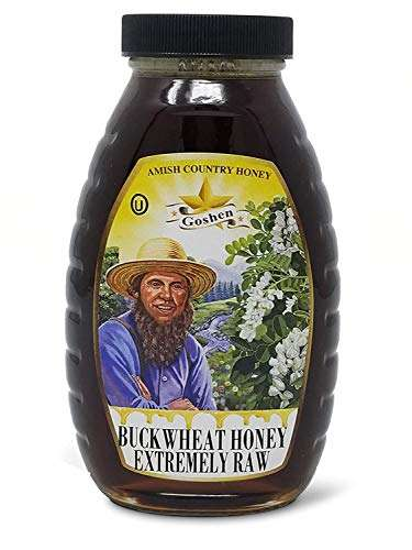 Goshen amish country local domestic buckwheat honey extremely raw with live enzymes 100% pure natural unheated unprocessed health benefits|ou kosher certified|1 lb glass jar |16 ounce |new york usa