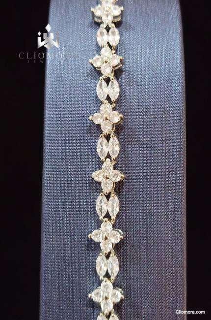 Delicate bracelet stylized cliomora cz cubic zirconia zkb15